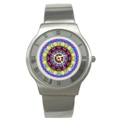 Rainbow Glass Stainless Steel Watch (slim)