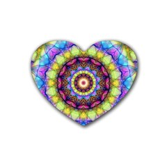 Rainbow Glass Drink Coasters 4 Pack (Heart)