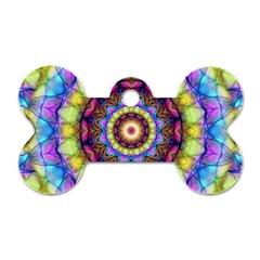 Rainbow Glass Dog Tag Bone (Two Sided)