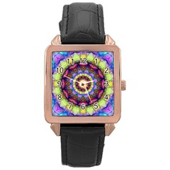 Rainbow Glass Rose Gold Leather Watch
