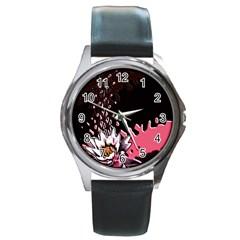 Flower Round Leather Watch (Silver Rim)