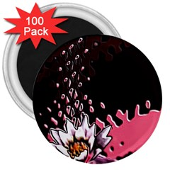 Flower 3  Button Magnet (100 pack)