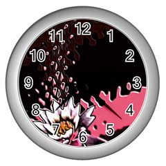 Flower Wall Clock (Silver)