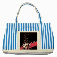 Flower Blue Striped Tote Bag