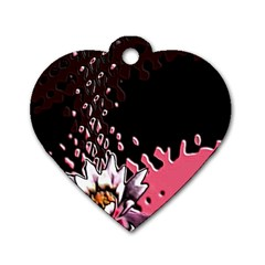 Flower Dog Tag Heart (One Sided)
