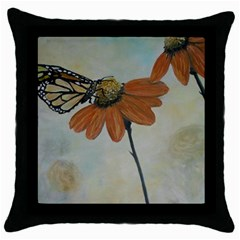 Monarch Black Throw Pillow Case