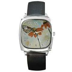 Monarch Square Leather Watch
