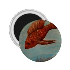 Gold Fish 2 25  Button Magnet