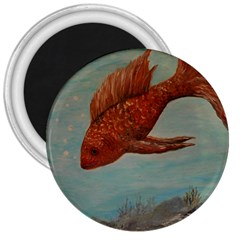 Gold Fish 3  Button Magnet