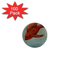 Gold Fish 1  Mini Button Magnet (100 Pack)