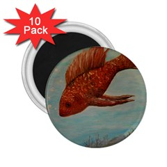 Gold Fish 2 25  Button Magnet (10 Pack)