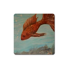 Gold Fish Magnet (Square)