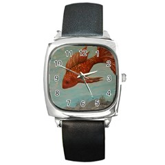Gold Fish Square Leather Watch