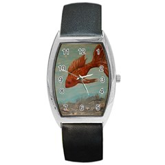 Gold Fish Tonneau Leather Watch