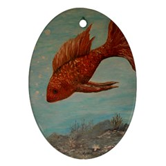 Gold Fish Oval Ornament (Two Sides)
