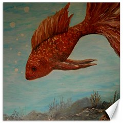 Gold Fish Canvas 12  X 12  (unframed)
