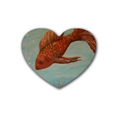 Gold Fish Drink Coasters 4 Pack (Heart)