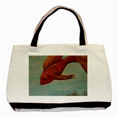 Gold Fish Twin-sided Black Tote Bag