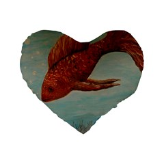 Gold Fish 16  Premium Heart Shape Cushion