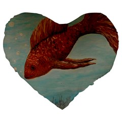 Gold Fish 19  Premium Heart Shape Cushion