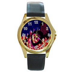 My Dragon Round Leather Watch (Gold Rim)