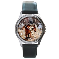 Pretty Pony Round Leather Watch (Silver Rim)