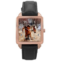 Pretty Pony Rose Gold Leather Watch