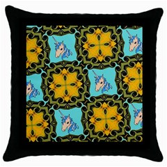 Orange Unicorn Black Throw Pillow Case