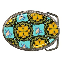 Orange Unicorn Belt Buckle (oval)