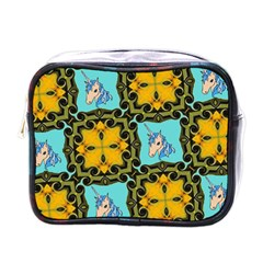 Orange Unicorn Mini Travel Toiletry Bag (one Side)