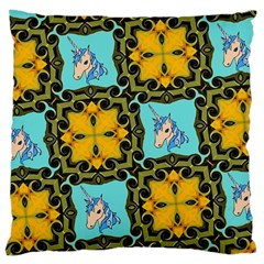 Orange Unicorn Large Cushion Case (Single Sided)