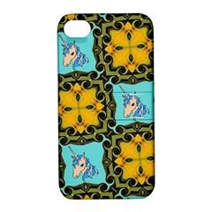 Orange Unicorn Apple Iphone 4/4s Hardshell Case With Stand