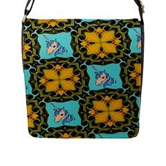 Orange Unicorn Flap Closure Messenger Bag (Large)