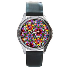 Bright Colors Round Leather Watch (Silver Rim)