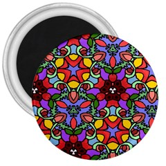 Bright Colors 3  Button Magnet