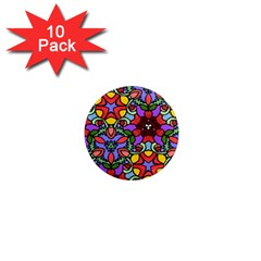 Bright Colors 1  Mini Button Magnet (10 pack)