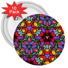 Bright Colors 3  Button (10 pack)