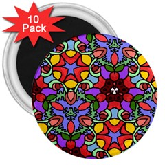 Bright Colors 3  Button Magnet (10 Pack)