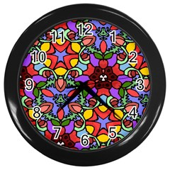 Bright Colors Wall Clock (Black)