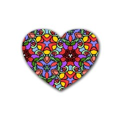 Bright Colors Drink Coasters 4 Pack (Heart)
