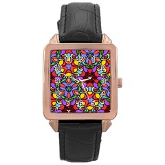 Bright Colors Rose Gold Leather Watch