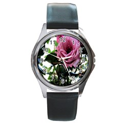 Rose Round Leather Watch (Silver Rim)