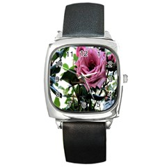 Rose Square Leather Watch