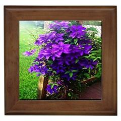 Purple Flowers Framed Ceramic Tile