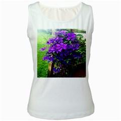 Purple Flowers Women s Tank Top (White)