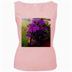 Purple Flowers Women s Tank Top (Pink)