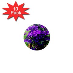 Purple Flowers 1  Mini Button Magnet (10 Pack)