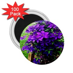 Purple Flowers 2 25  Button Magnet (100 Pack)