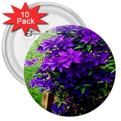 Purple Flowers 3  Button (10 pack)