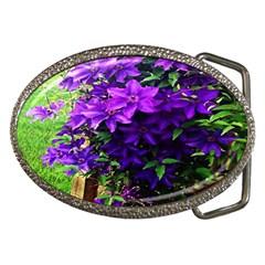 Purple Flowers Belt Buckle (Oval)